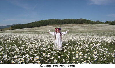 Ukrainian traditions - Little girl dressed in a traditional...
