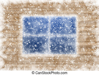 Snow-covered window and falling snowflakes