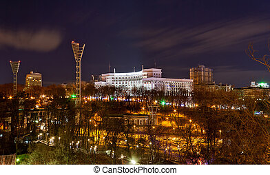 View of Dynamo stadium and Government House - Night view of...