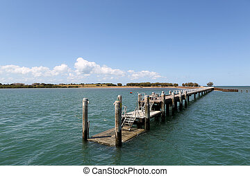 St Helena Jetty - The jetty leading onto St Helena Island in...