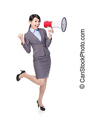 Business woman happy with a megaphone
