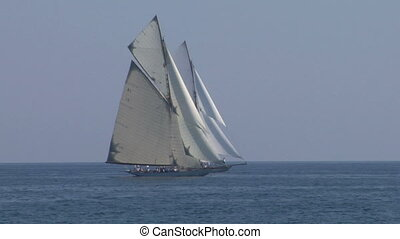 old sail regatta 23 - Old sailing boat in Mediterranean Sea...