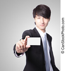 business card in man hand
