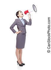Business woman smile with megaphone