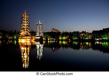 Guilin China - Evening view of the Gold and Silver Pagodas,...