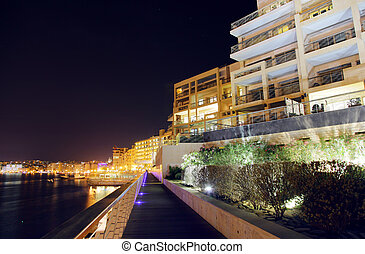 malta - View of Sliema from seaside in night. Malta