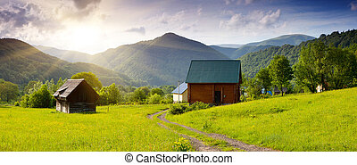 house - New wooden tourist house in the mountains