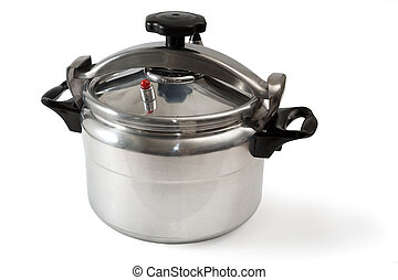Pressure Cooker - Pressure cooker it is isolated on a white...