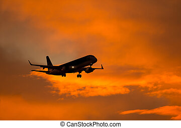 Aircraft Silhouette - Silhouette of a aircraft approaching...