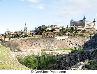 Toledo - Alcazar and cathedral of Santa Maria of the Spanish...