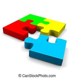 Puzzle solution concept - four color puzzle pieces combined...