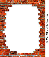 frame with brick - hole in a brick wall with isolated on...