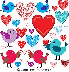 Set of birdies and hearts - Vector illustration. It is...