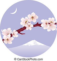 vector branch of sakura (cherry) and Mount Fuji