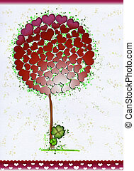 Beautiful Tree with Symbol Hearts - Valentine's or Saint Patrick's Day. Clover