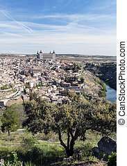 Toledo - Distant view of the the Spanish city of Toledo, in...