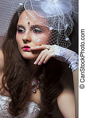 Portrait of Fashionable Lady in White Retro Veil - Romance