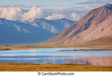 Lake on Alaska - Serenity lake in tundra on Alaska