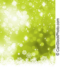Green abstract christmas with snowflake. EPS 8 - Green...