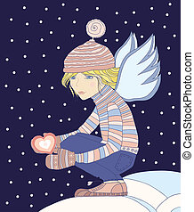 angel - Young girl - an angel, holds a heart in a hand.