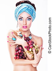 Woman with Grapes Wine isolated on White background - Girl...