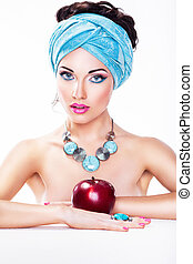 Attractive Woman with Apple - Healthy Wholesome Eating...