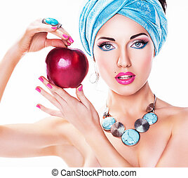Portrait of Attractive Young Woman with Red Apple