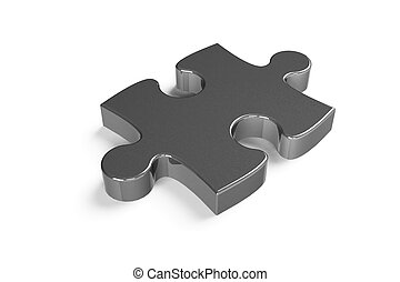 Metallic puzzle piece isolated on a white background, 3d...