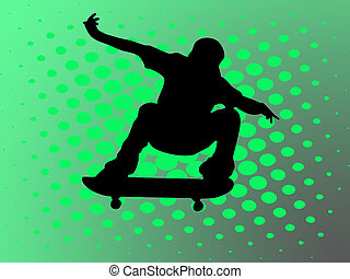 skating man on green background