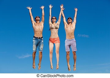 Group Of Friends Having Fun On Summer Beach - Happy group of...