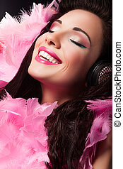 Cheerful Beauty Girl with Pink Feathers Having Fun - Pleasure