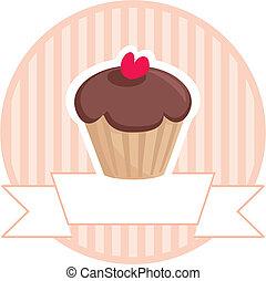 dulce, vector, Retro, mollete, Cupcake