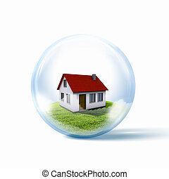 A residential house with red roof inside a glass sphere