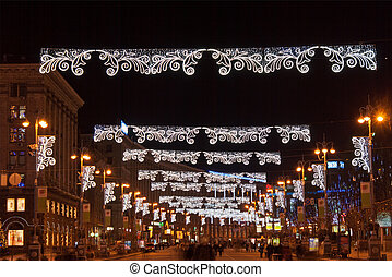 The main street of Kyiv at Christmas - Khreshchatyk, the...