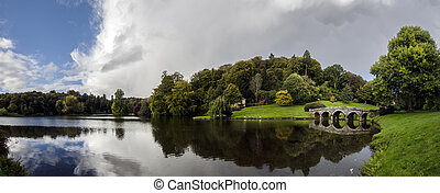 Stourhead Gardens - Large panorama of Stourhead gardens in...