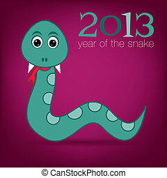 New Year Snake - Bright 2013 Year of the snake card in...