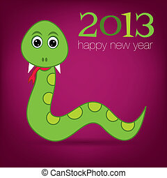 Print - Bright 2013 Year of the snake card in vector format....