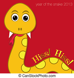 New Year Snake - Happy New Year snake card in vector format