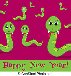New Year Snake - Happy New Year slithering snakes card in...