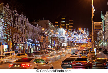 Kyiv at night - Bogdan Khmel'nitskiy street at night
