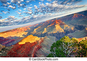 Breathtaking Grand Canyon - view of Grand Canyon at sunrise,...