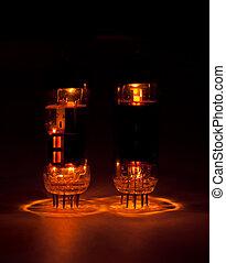 vacuum tubes glowing