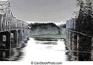 Water 'Tween the Bridges - Mississippi River bridges in...