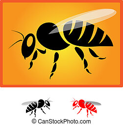 bee - black bee silhouette isolated on orange background -...