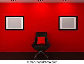Gallery wall. Modern armchair and empty picture on the wall in red interior.
