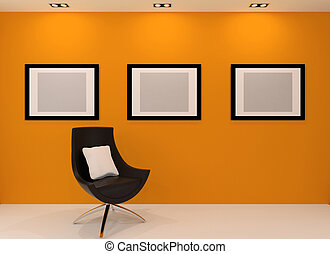 Gallery wall. Modern armchair and empty picture on the wall in orange interior.