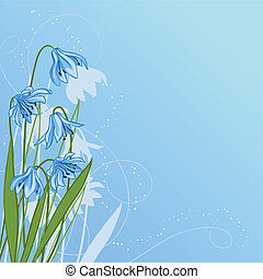 Pastel background with blue snowdrop