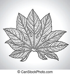 Vector Illustration Of Black Leaf