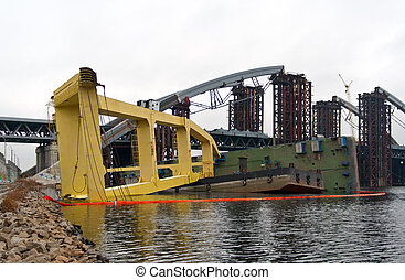 Crashed floating crane