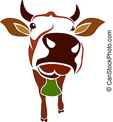 cow - Brown cow on a white background - vector